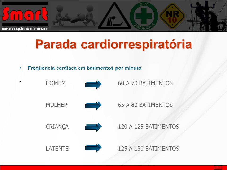 CAPACITAÇÃO INTELIGENTE Freqüência cardíaca em batimentos por minuto HOMEM 60 A 70 BATIMENTOS MULHER 65 A 80 BATIMENTOS CRIANÇA 120 A 125 BATIMENTOS LATENTE 125 A 130 BATIMENTOS Parada cardiorrespiratória