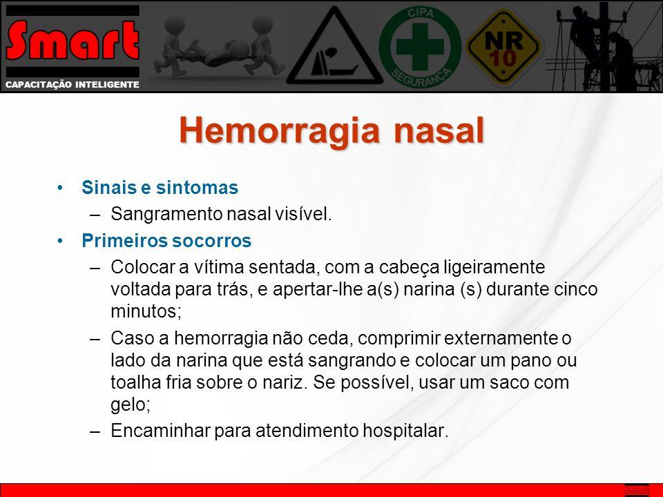 CAPACITAÇÃO INTELIGENTE Hemorragia nasal Sinais e sintomas –Sangramento nasal visível.