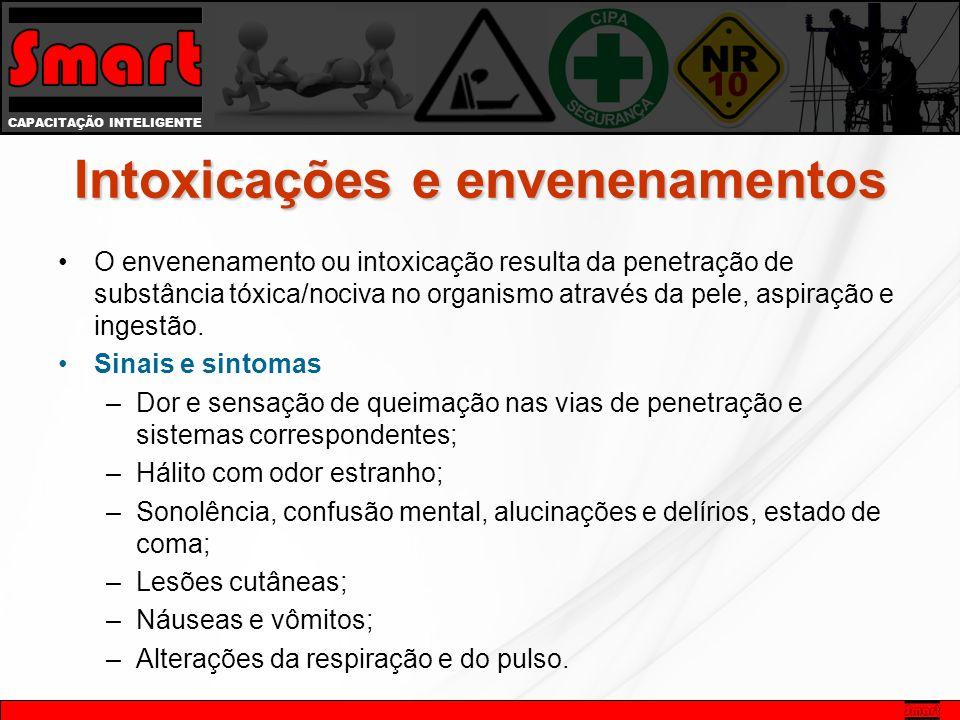 CAPACITAÇÃO INTELIGENTE Intoxicações e envenenamentos O envenenamento ou intoxicação resulta da penetração de substância tóxica/nociva no organismo através da pele, aspiração e ingestão.