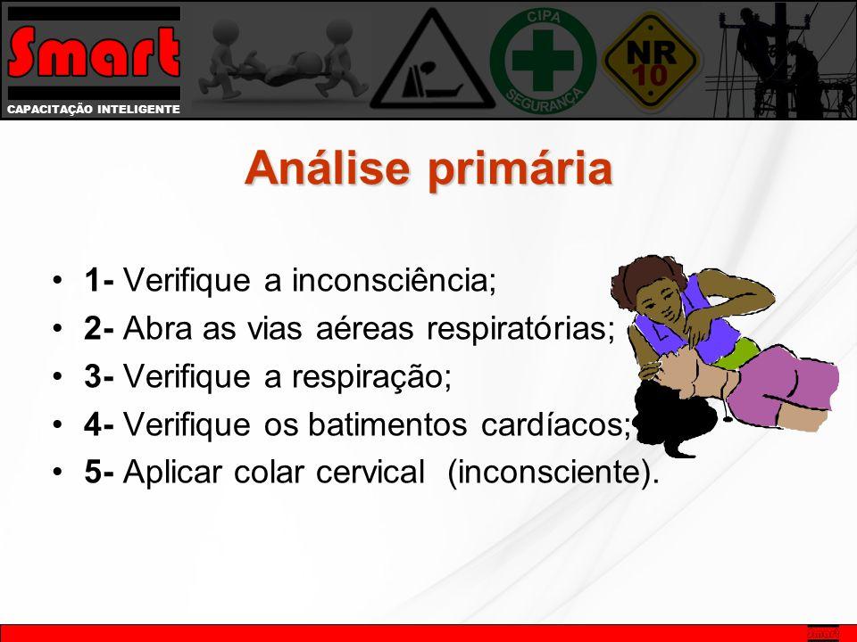CAPACITAÇÃO INTELIGENTE Análise primária 1- Verifique a inconsciência; 2- Abra as vias aéreas respiratórias; 3- Verifique a respiração; 4- Verifique os batimentos cardíacos; 5- Aplicar colar cervical (inconsciente).