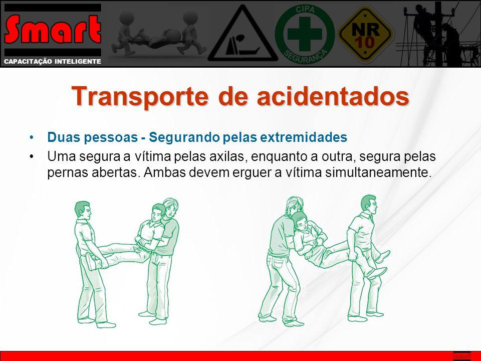 CAPACITAÇÃO INTELIGENTE Duas pessoas - Segurando pelas extremidades Uma segura a vítima pelas axilas, enquanto a outra, segura pelas pernas abertas.