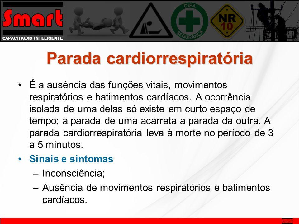 CAPACITAÇÃO INTELIGENTE Parada cardiorrespiratória É a ausência das funções vitais, movimentos respiratórios e batimentos cardíacos.