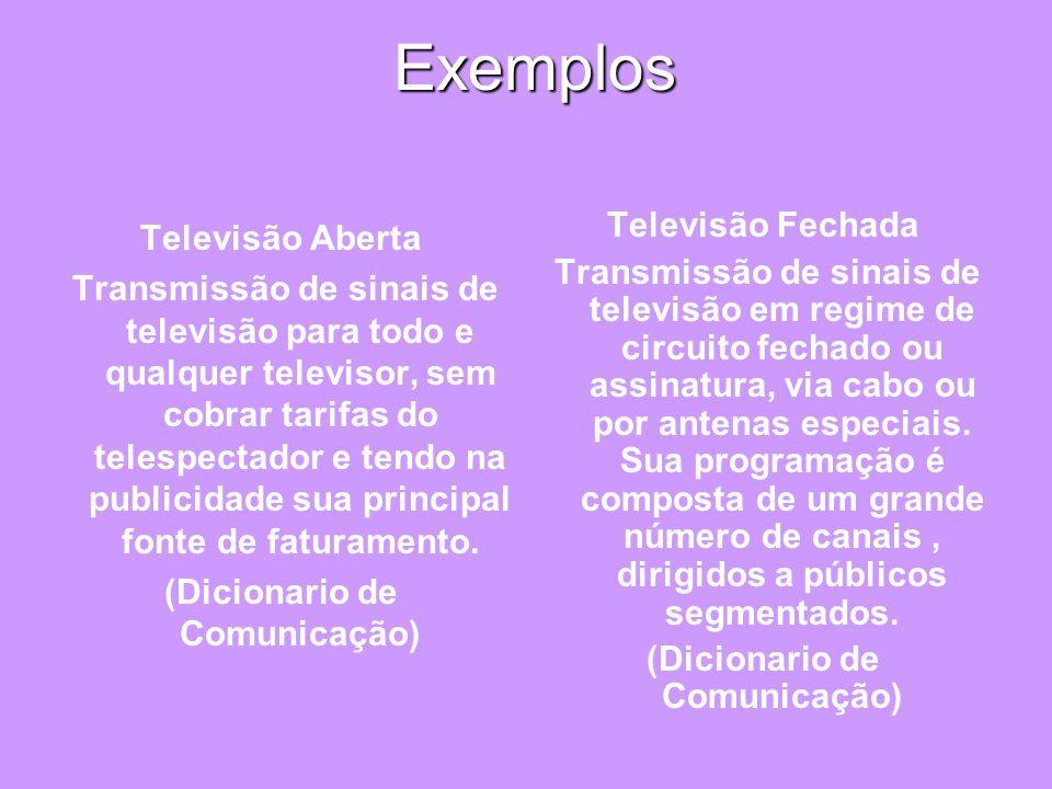 Exemplos Exemplos Televisão Aberta Transmissão de sinais de televisão para todo e qualquer televisor, sem cobrar tarifas do telespectador e tendo na p