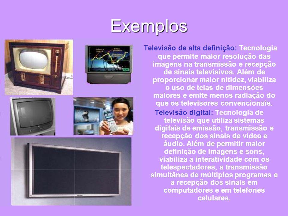 Exemplos Exemplos Televisão de alta definição: Tecnologia que permite maior resolução das imagens na transmissão e recepção de sinais televisivos. Alé