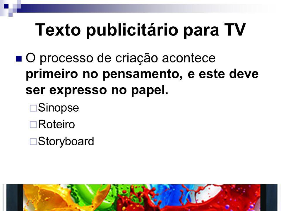 Texto publicitário para TV O processo de criação acontece primeiro no pensamento, e este deve ser expresso no papel. Sinopse Roteiro Storyboard