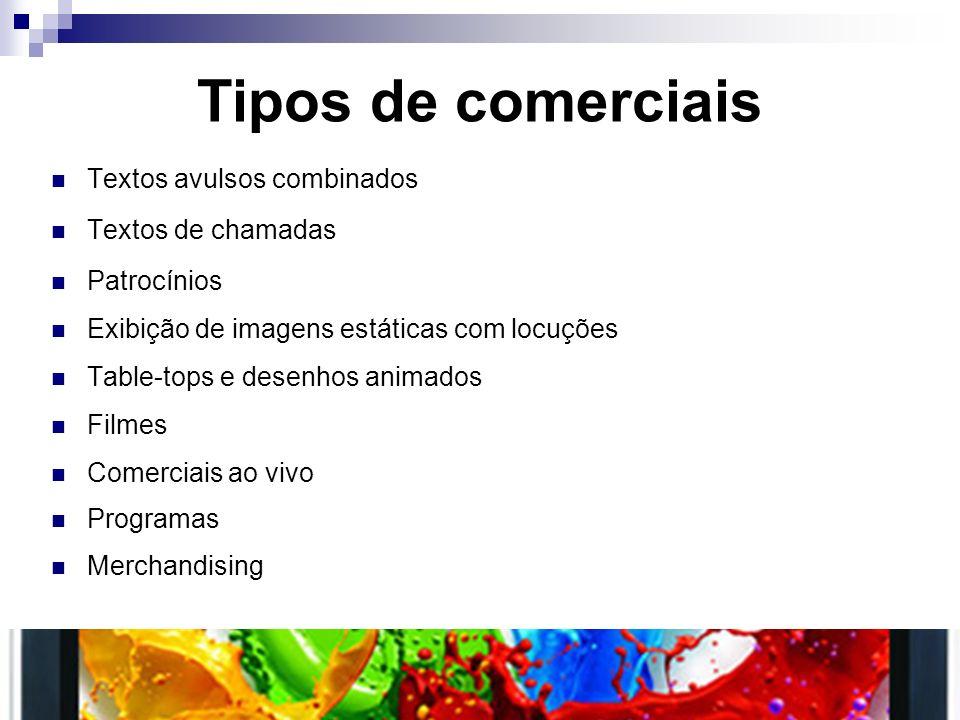 Tipos de comerciais Textos avulsos combinados Textos de chamadas Patrocínios Exibição de imagens estáticas com locuções Table-tops e desenhos animados