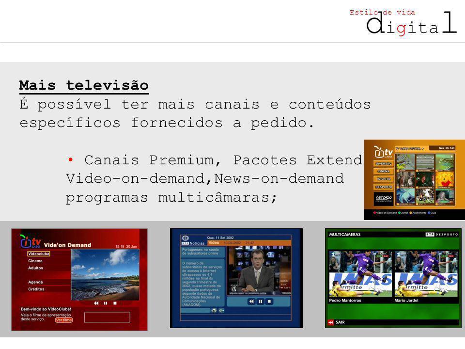 d igita l Estilo de vida Mais televisão É possível ter mais canais e conteúdos específicos fornecidos a pedido.