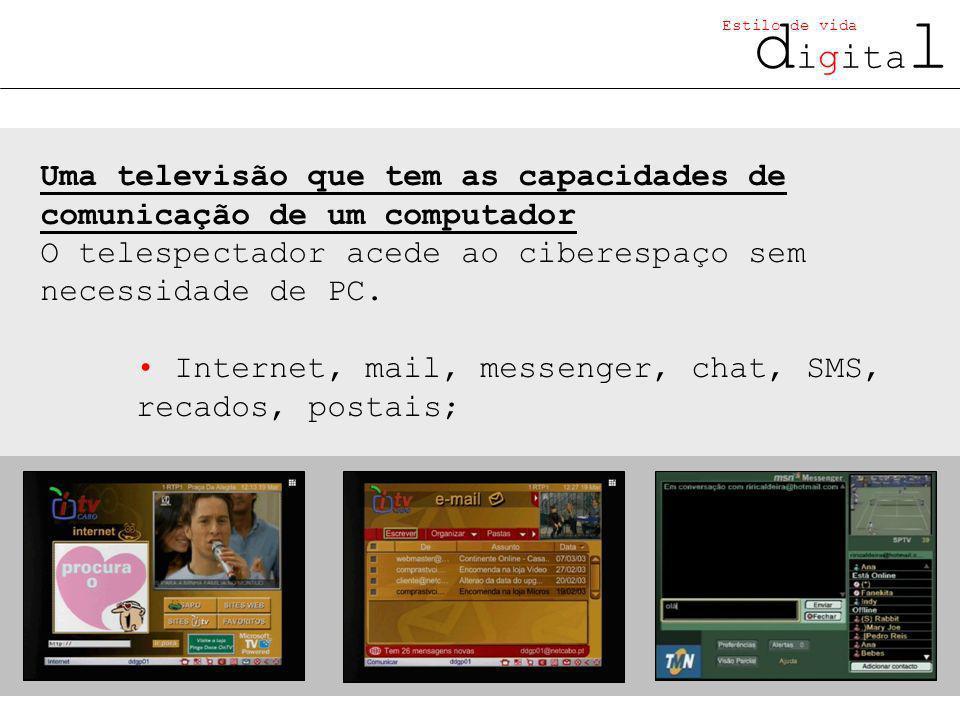 d igita l Estilo de vida Uma televisão que tem as capacidades de comunicação de um computador O telespectador acede ao ciberespaço sem necessidade de PC.