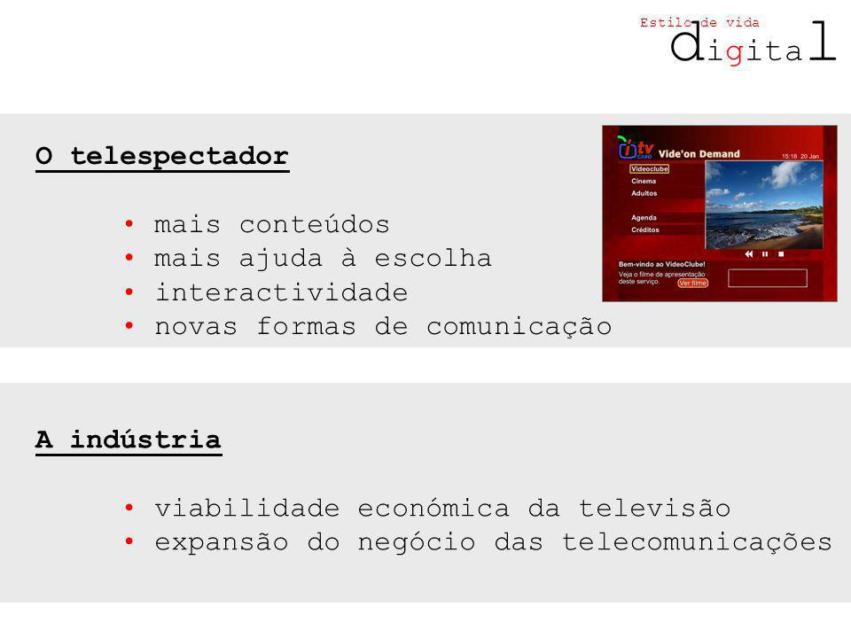 d igita l Estilo de vida O telespectador mais conteúdos mais ajuda à escolha interactividade novas formas de comunicação A indústria viabilidade económica da televisão expansão do negócio das telecomunicações