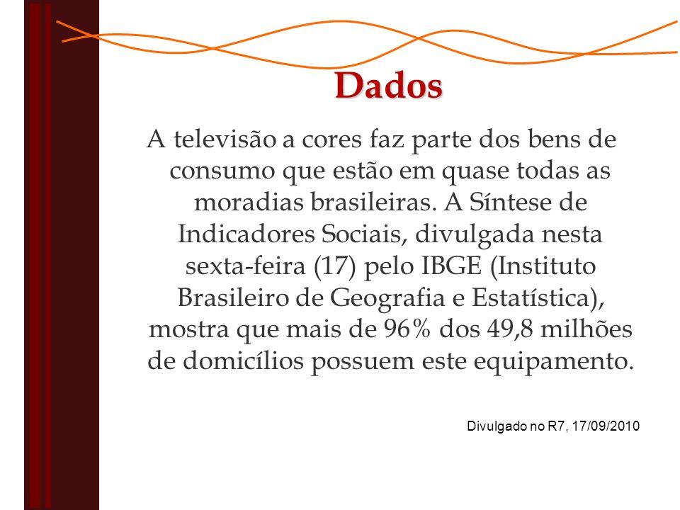 A televisão a cores faz parte dos bens de consumo que estão em quase todas as moradias brasileiras.