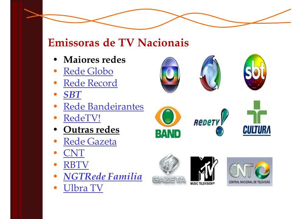 Maiores redes Rede Globo Rede Record SBT Rede Bandeirantes RedeTV.