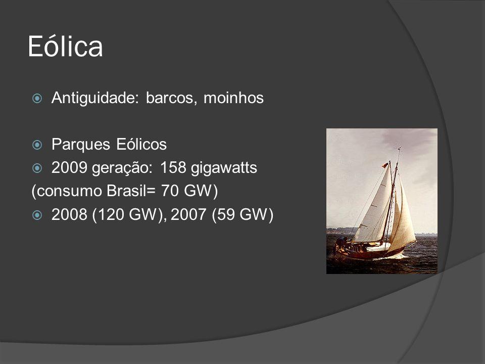 Eólica Antiguidade: barcos, moinhos Parques Eólicos 2009 geração: 158 gigawatts (consumo Brasil= 70 GW) 2008 (120 GW), 2007 (59 GW)