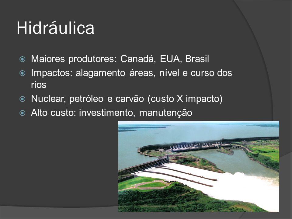 Hidráulica Maiores produtores: Canadá, EUA, Brasil Impactos: alagamento áreas, nível e curso dos rios Nuclear, petróleo e carvão (custo X impacto) Alto custo: investimento, manutenção