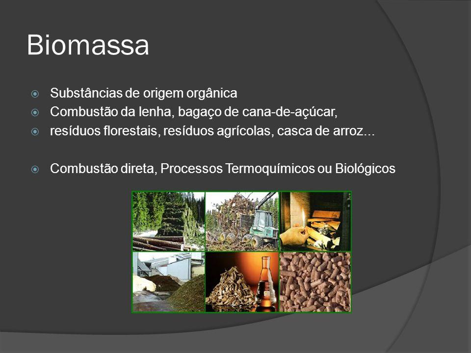 Biomassa Substâncias de origem orgânica Combustão da lenha, bagaço de cana-de-açúcar, resíduos florestais, resíduos agrícolas, casca de arroz...