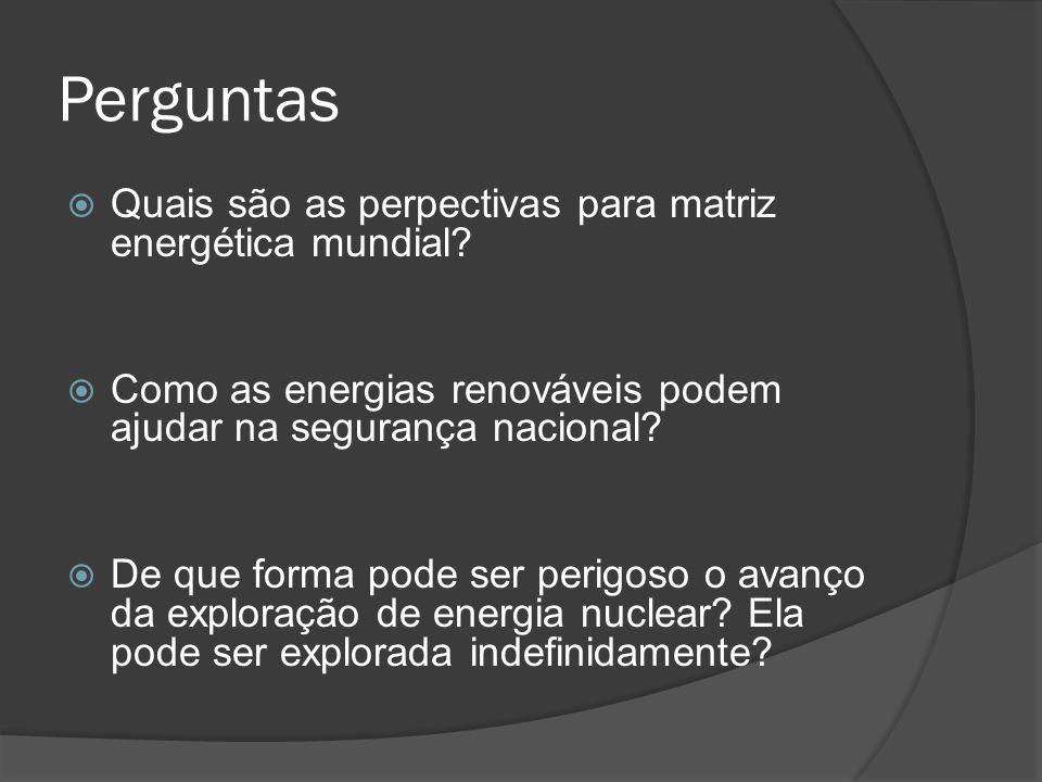 Perguntas Quais são as perpectivas para matriz energética mundial.