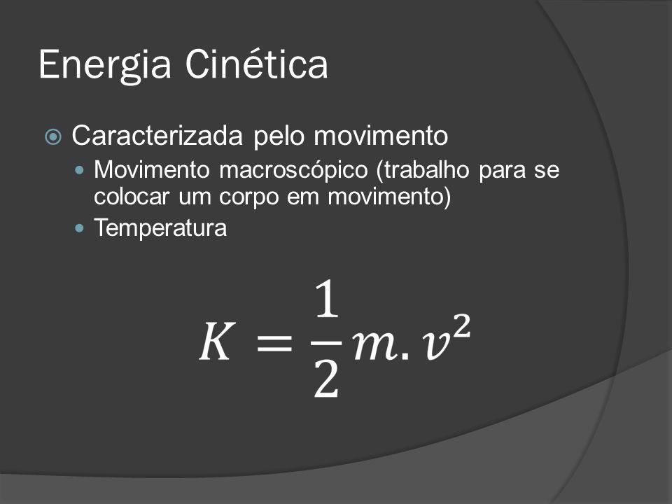 Energia Cinética Caracterizada pelo movimento Movimento macroscópico (trabalho para se colocar um corpo em movimento) Temperatura