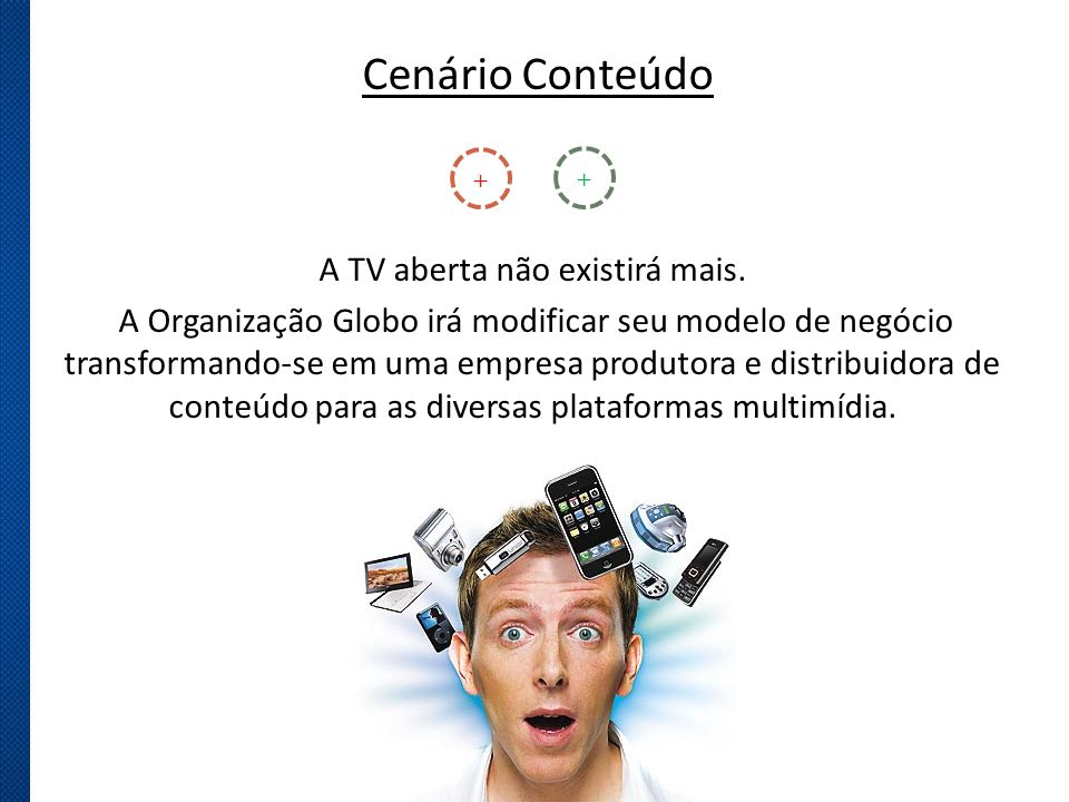 Cenário Conteúdo A TV aberta não existirá mais. A Organização Globo irá modificar seu modelo de negócio transformando-se em uma empresa produtora e di
