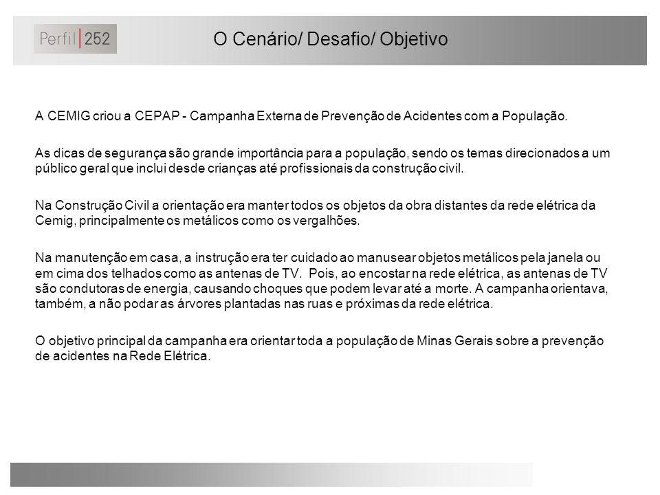 O Cenário/ Desafio/ Objetivo A CEMIG criou a CEPAP - Campanha Externa de Prevenção de Acidentes com a População. As dicas de segurança são grande impo