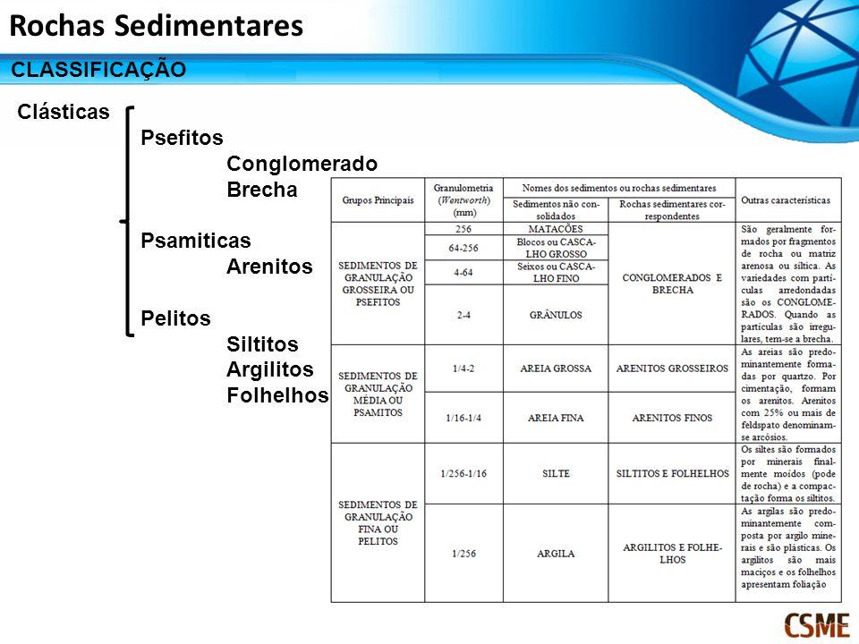 Rochas Sedimentares CLASSIFICAÇÃO Clásticas Psefitos Conglomerado Brecha Psamiticas Arenitos Pelitos Siltitos Argilitos Folhelhos