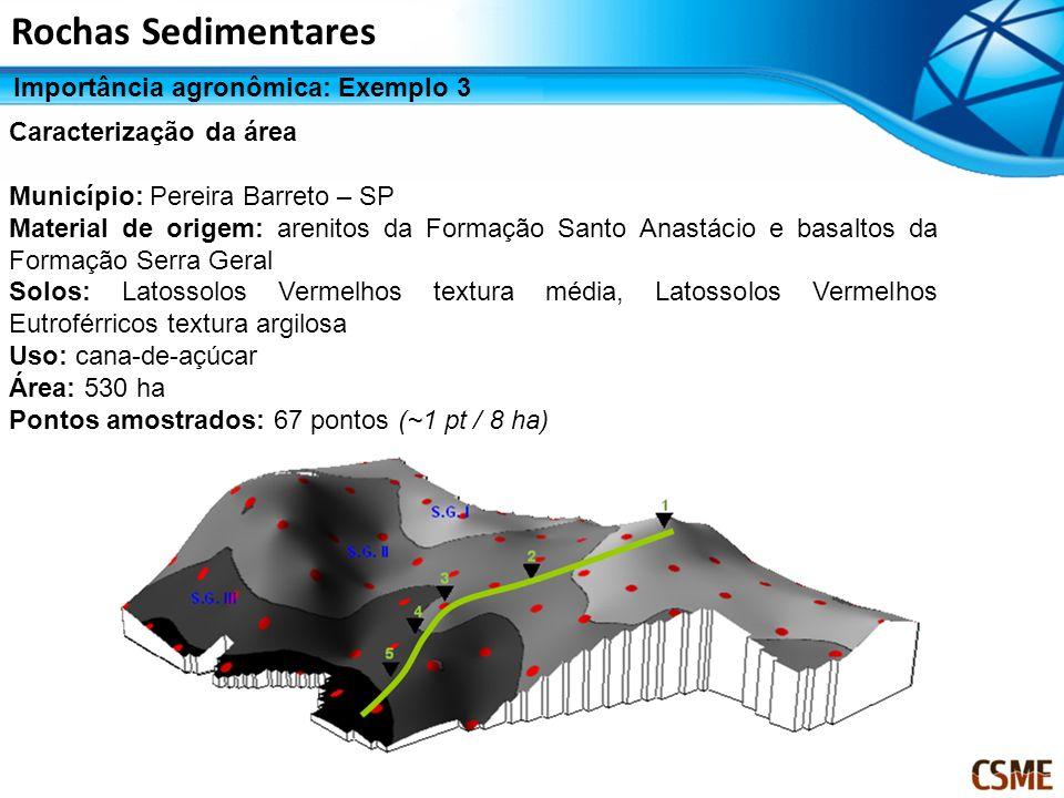 Caracterização da área Município: Pereira Barreto – SP Material de origem: arenitos da Formação Santo Anastácio e basaltos da Formação Serra Geral Sol