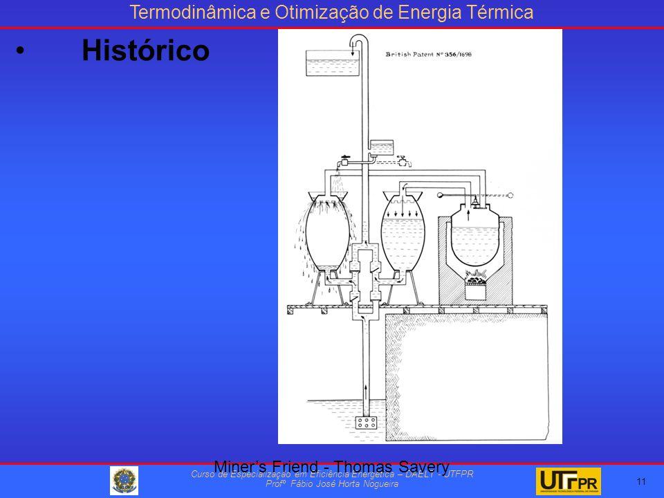 Termodinâmica e Otimização de Energia Térmica Curso de Especialização em Eficiência Energética – DAELT - UTFPR Profº Fábio José Horta Nogueira 11 Miners Friend - Thomas Savery Histórico