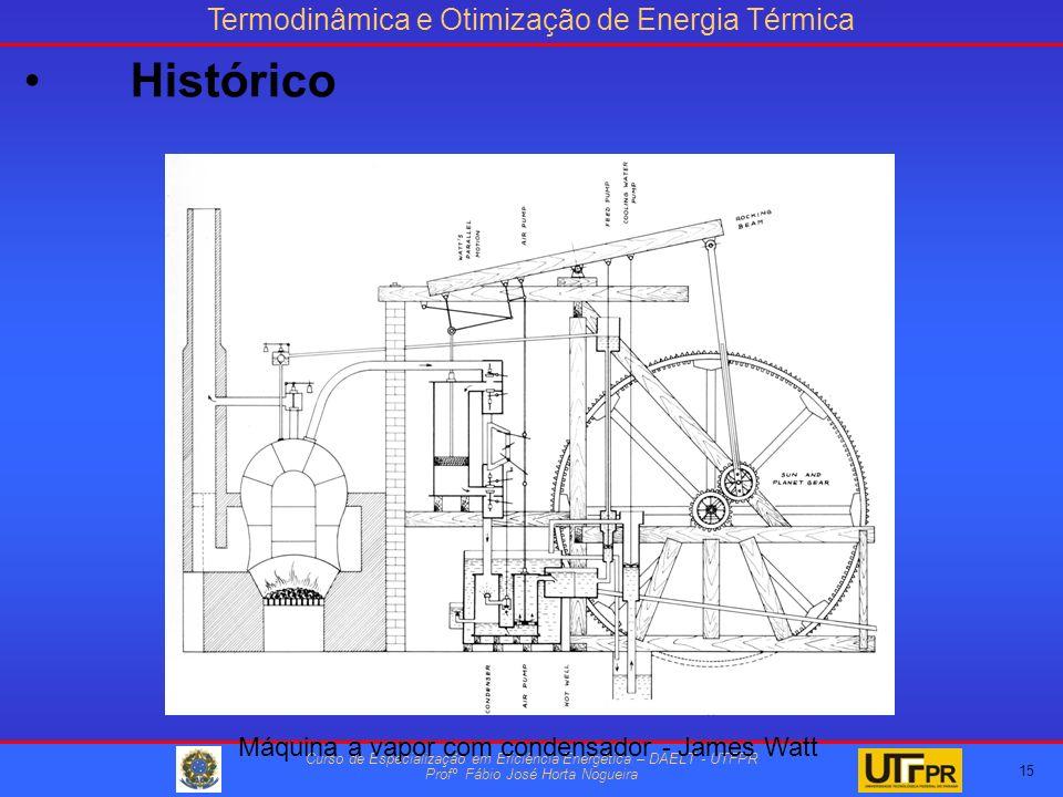 Termodinâmica e Otimização de Energia Térmica Curso de Especialização em Eficiência Energética – DAELT - UTFPR Profº Fábio José Horta Nogueira 15 Máquina a vapor com condensador - James Watt Histórico