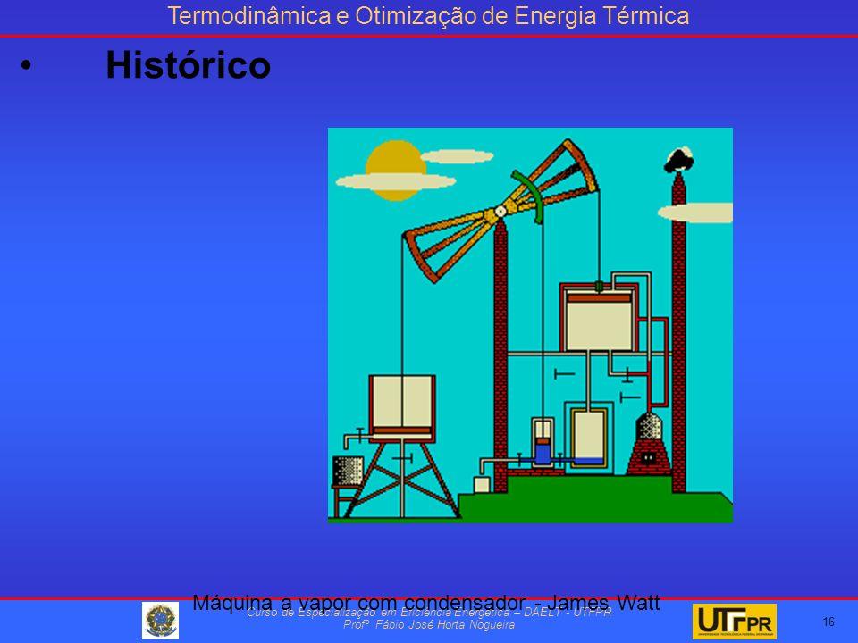 Termodinâmica e Otimização de Energia Térmica Curso de Especialização em Eficiência Energética – DAELT - UTFPR Profº Fábio José Horta Nogueira 16 Máquina a vapor com condensador - James Watt Histórico