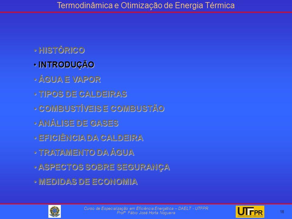 Termodinâmica e Otimização de Energia Térmica Curso de Especialização em Eficiência Energética – DAELT - UTFPR Profº Fábio José Horta Nogueira HISTÓRICO HISTÓRICO INTRODUÇÃO INTRODUÇÃO ÁGUA E VAPOR ÁGUA E VAPOR TIPOS DE CALDEIRAS TIPOS DE CALDEIRAS COMBUSTÍVEIS E COMBUSTÃO COMBUSTÍVEIS E COMBUSTÃO ANÁLISE DE GASES ANÁLISE DE GASES EFICIÊNCIA DA CALDEIRA EFICIÊNCIA DA CALDEIRA TRATAMENTO DA ÁGUA TRATAMENTO DA ÁGUA ASPECTOS SOBRE SEGURANÇA ASPECTOS SOBRE SEGURANÇA MEDIDAS DE ECONOMIA MEDIDAS DE ECONOMIA 18