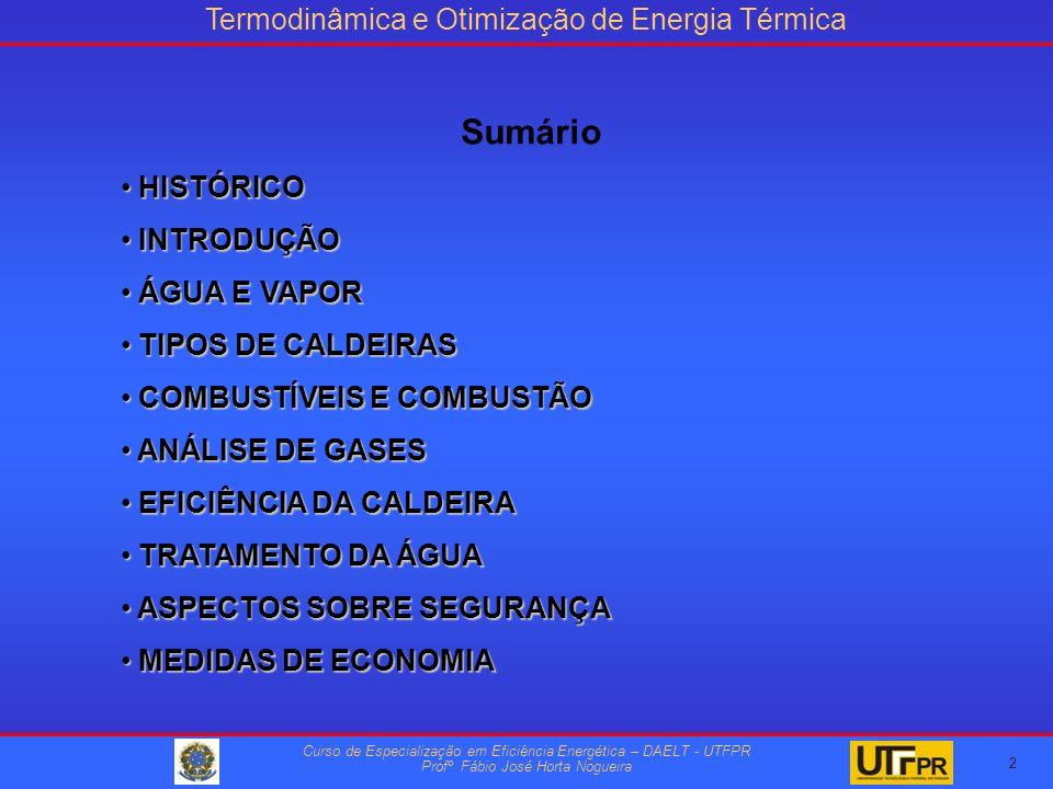 Termodinâmica e Otimização de Energia Térmica Curso de Especialização em Eficiência Energética – DAELT - UTFPR Profº Fábio José Horta Nogueira HISTÓRICO HISTÓRICO INTRODUÇÃO INTRODUÇÃO ÁGUA E VAPOR ÁGUA E VAPOR TIPOS DE CALDEIRAS TIPOS DE CALDEIRAS COMBUSTÍVEIS E COMBUSTÃO COMBUSTÍVEIS E COMBUSTÃO ANÁLISE DE GASES ANÁLISE DE GASES EFICIÊNCIA DA CALDEIRA EFICIÊNCIA DA CALDEIRA TRATAMENTO DA ÁGUA TRATAMENTO DA ÁGUA ASPECTOS SOBRE SEGURANÇA ASPECTOS SOBRE SEGURANÇA MEDIDAS DE ECONOMIA MEDIDAS DE ECONOMIA 3