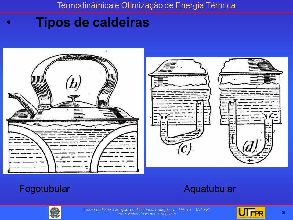 Termodinâmica e Otimização de Energia Térmica Curso de Especialização em Eficiência Energética – DAELT - UTFPR Profº Fábio José Horta Nogueira Fogotubular Aquatubular 30 Tipos de caldeiras