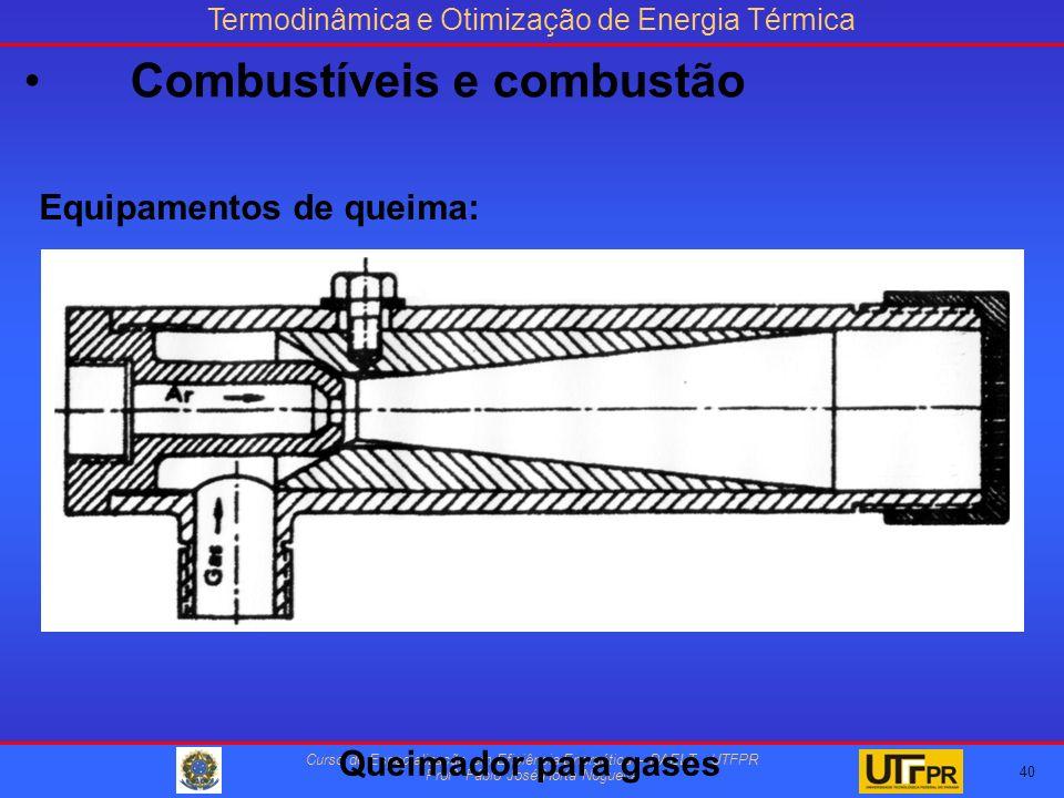 Termodinâmica e Otimização de Energia Térmica Curso de Especialização em Eficiência Energética – DAELT - UTFPR Profº Fábio José Horta Nogueira Equipamentos de queima: Queimador para gases 40 Combustíveis e combustão