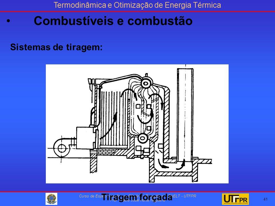 Termodinâmica e Otimização de Energia Térmica Curso de Especialização em Eficiência Energética – DAELT - UTFPR Profº Fábio José Horta Nogueira Sistemas de tiragem: Tiragem forçada 41 Combustíveis e combustão