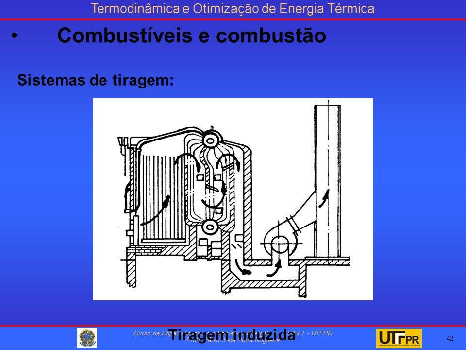 Termodinâmica e Otimização de Energia Térmica Curso de Especialização em Eficiência Energética – DAELT - UTFPR Profº Fábio José Horta Nogueira Sistemas de tiragem: Tiragem induzida 42 Combustíveis e combustão
