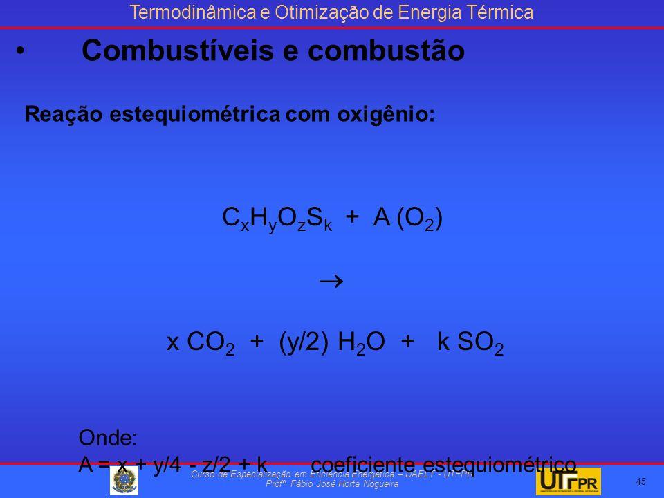 Termodinâmica e Otimização de Energia Térmica Curso de Especialização em Eficiência Energética – DAELT - UTFPR Profº Fábio José Horta Nogueira Reação estequiométrica com oxigênio: C x H y O z S k + A (O 2 ) x CO 2 + (y/2) H 2 O + k SO 2 Onde: A = x + y/4 - z/2 + kcoeficiente estequiométrico 45 Combustíveis e combustão