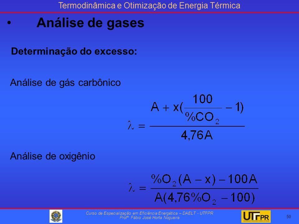 Termodinâmica e Otimização de Energia Térmica Curso de Especialização em Eficiência Energética – DAELT - UTFPR Profº Fábio José Horta Nogueira Determinação do excesso: Análise de gás carbônico Análise de oxigênio 50 Análise de gases
