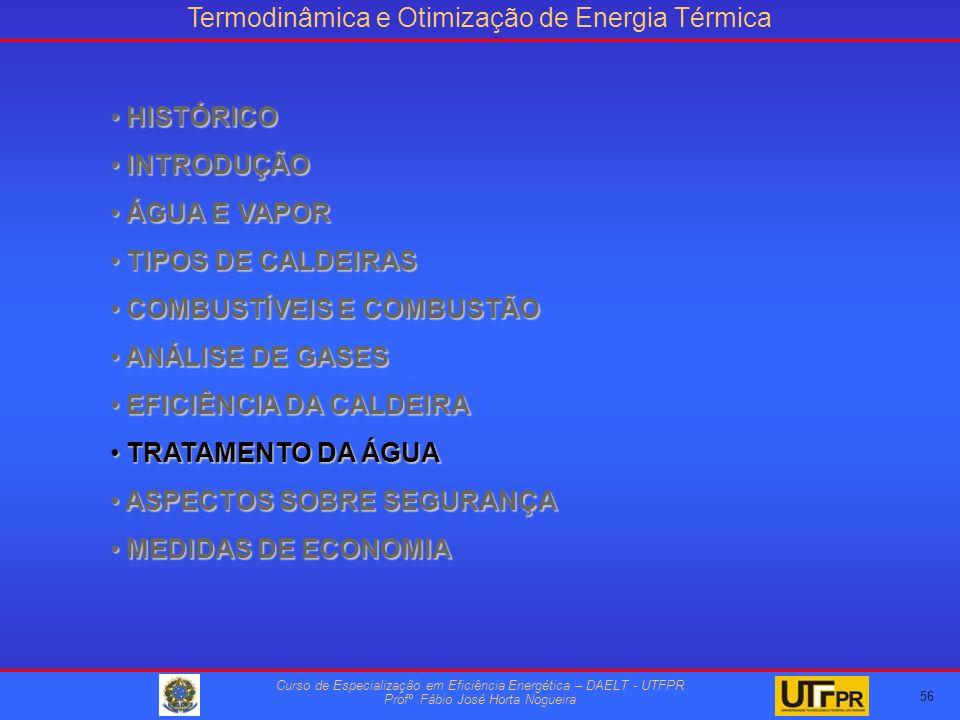 Termodinâmica e Otimização de Energia Térmica Curso de Especialização em Eficiência Energética – DAELT - UTFPR Profº Fábio José Horta Nogueira HISTÓRICO HISTÓRICO INTRODUÇÃO INTRODUÇÃO ÁGUA E VAPOR ÁGUA E VAPOR TIPOS DE CALDEIRAS TIPOS DE CALDEIRAS COMBUSTÍVEIS E COMBUSTÃO COMBUSTÍVEIS E COMBUSTÃO ANÁLISE DE GASES ANÁLISE DE GASES EFICIÊNCIA DA CALDEIRA EFICIÊNCIA DA CALDEIRA TRATAMENTO DA ÁGUA TRATAMENTO DA ÁGUA ASPECTOS SOBRE SEGURANÇA ASPECTOS SOBRE SEGURANÇA MEDIDAS DE ECONOMIA MEDIDAS DE ECONOMIA 56