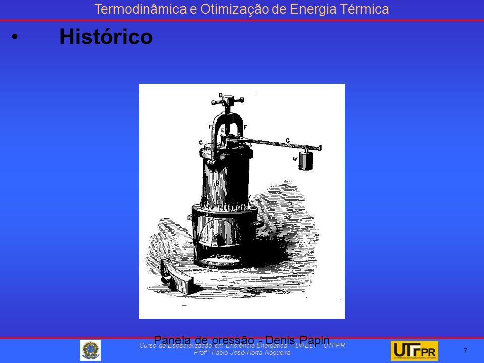 Termodinâmica e Otimização de Energia Térmica Curso de Especialização em Eficiência Energética – DAELT - UTFPR Profº Fábio José Horta Nogueira 7 Panela de pressão - Denis Papin Histórico