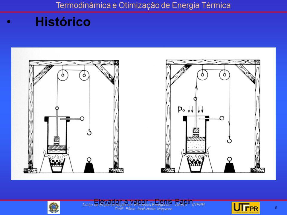 Termodinâmica e Otimização de Energia Térmica Curso de Especialização em Eficiência Energética – DAELT - UTFPR Profº Fábio José Horta Nogueira 8 Elevador a vapor - Denis Papin Histórico
