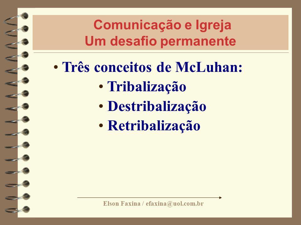Elson Faxina / efaxina@uol.com.br Comunicação e Igreja Um desafio permanente Três conceitos de McLuhan: Tribalização Destribalização Retribalização