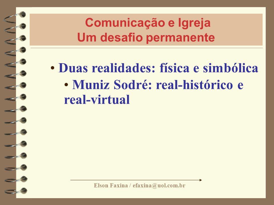 Elson Faxina / efaxina@uol.com.br Comunicação e Igreja Um desafio permanente Duas realidades: física e simbólica Muniz Sodré: real-histórico e real-vi