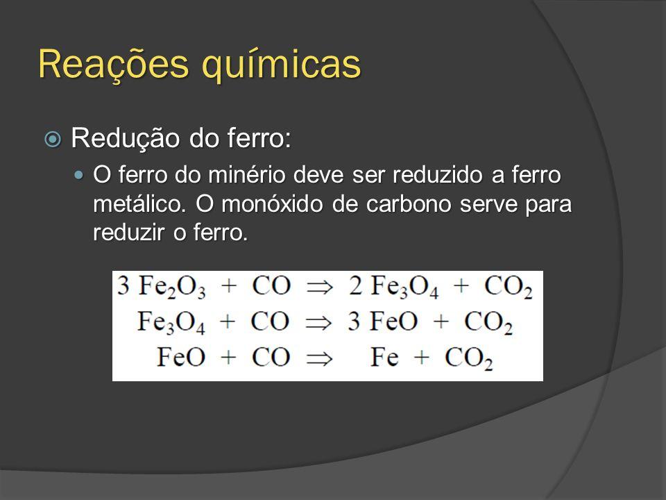 Reações químicas Redução do ferro: Redução do ferro: O ferro do minério deve ser reduzido a ferro metálico. O monóxido de carbono serve para reduzir o