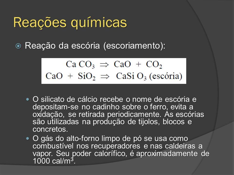 Reações químicas Reação da escória (escoriamento): Reação da escória (escoriamento): O silicato de cálcio recebe o nome de escória e depositam-se no c