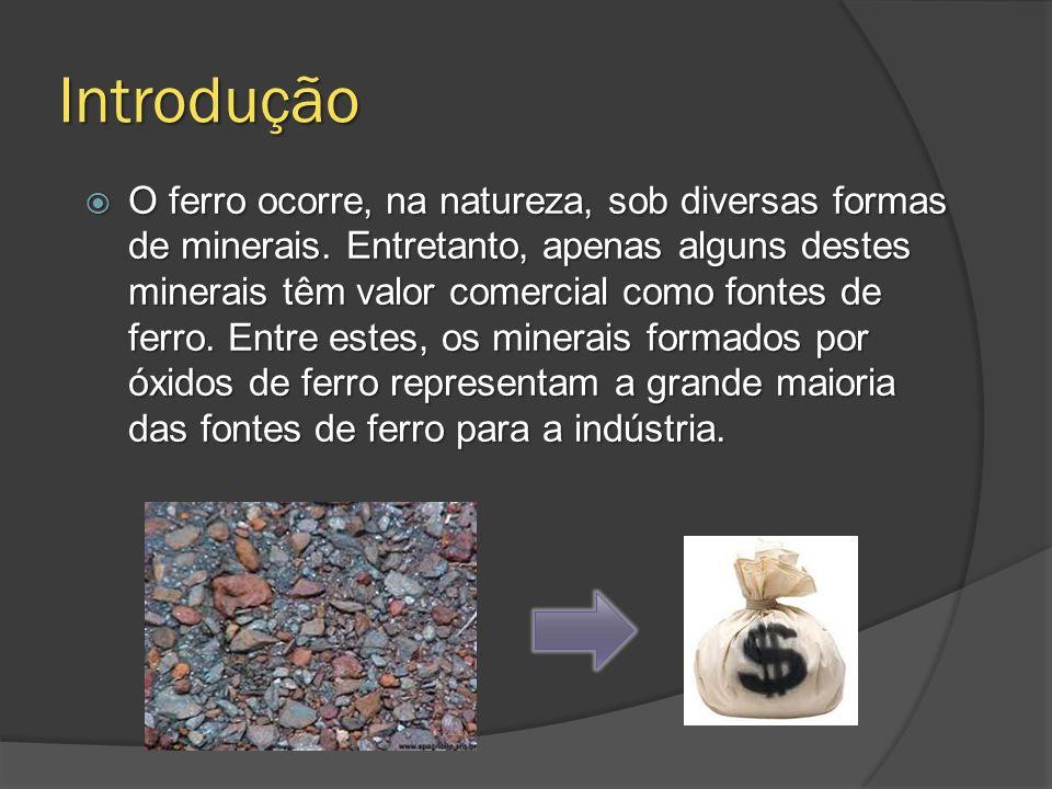Introdução O ferro ocorre, na natureza, sob diversas formas de minerais. Entretanto, apenas alguns destes minerais têm valor comercial como fontes de