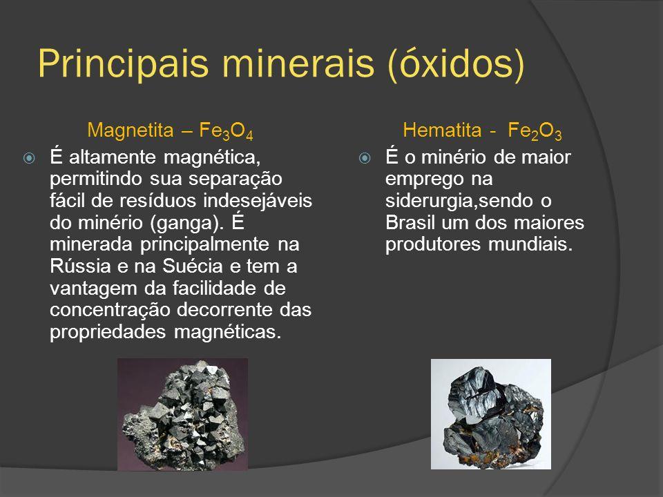 Principais minerais (óxidos) Magnetita – Fe 3 O 4 É altamente magnética, permitindo sua separação fácil de resíduos indesejáveis do minério (ganga). É