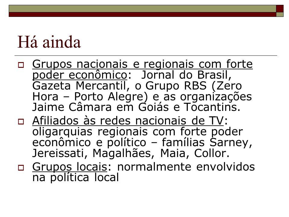 Há ainda Grupos nacionais e regionais com forte poder econômico: Jornal do Brasil, Gazeta Mercantil, o Grupo RBS (Zero Hora – Porto Alegre) e as organizações Jaime Câmara em Goiás e Tocantins.