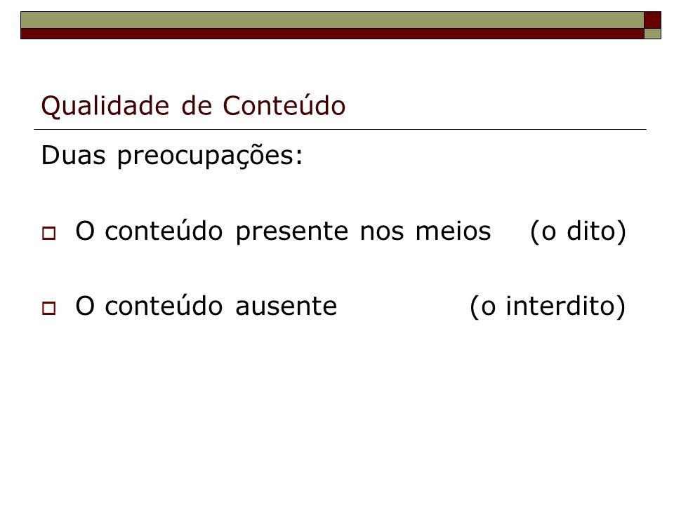 Qualidade de Conteúdo Duas preocupações: O conteúdo presente nos meios (o dito) O conteúdo ausente (o interdito)