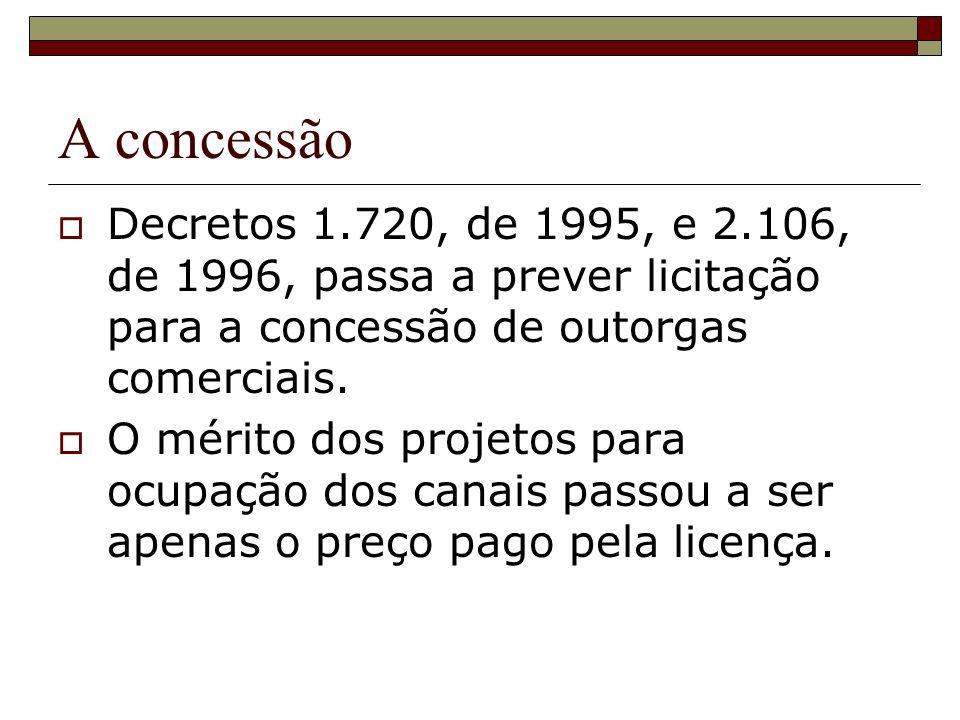 A concessão Decretos 1.720, de 1995, e 2.106, de 1996, passa a prever licitação para a concessão de outorgas comerciais. O mérito dos projetos para oc