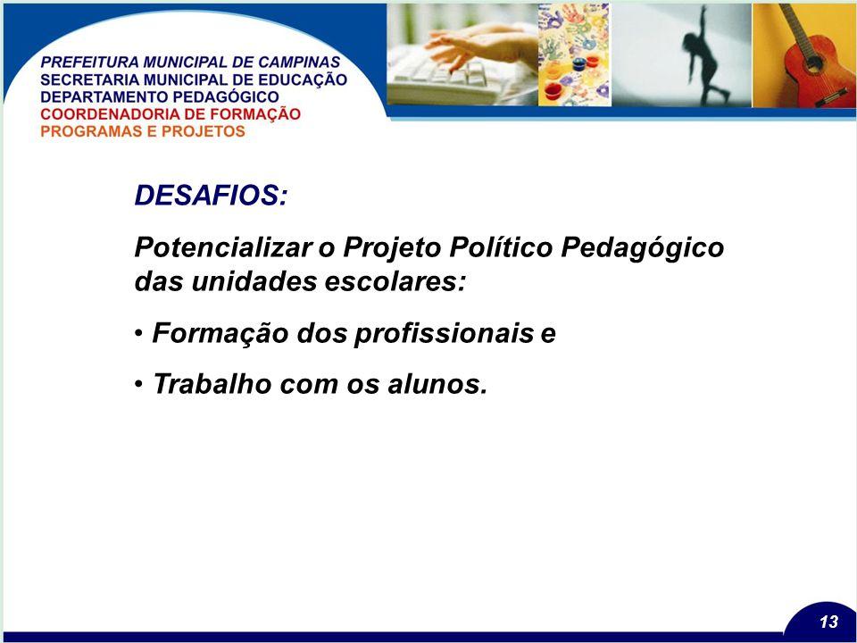 13 DESAFIOS: Potencializar o Projeto Político Pedagógico das unidades escolares: Formação dos profissionais e Trabalho com os alunos.