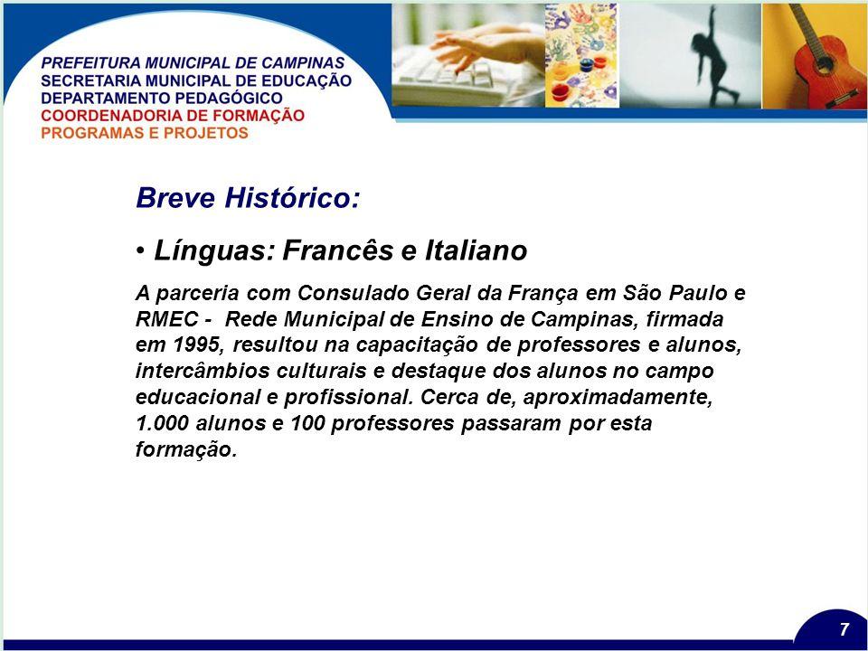 7 Breve Histórico: Línguas: Francês e Italiano A parceria com Consulado Geral da França em São Paulo e RMEC - Rede Municipal de Ensino de Campinas, firmada em 1995, resultou na capacitação de professores e alunos, intercâmbios culturais e destaque dos alunos no campo educacional e profissional.