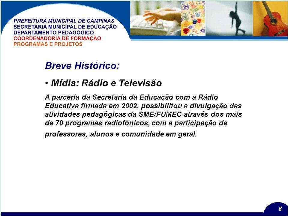 8 Breve Histórico: Mídia: Rádio e Televisão A parceria da Secretaria da Educação com a Rádio Educativa firmada em 2002, possibilitou a divulgação das atividades pedagógicas da SME/FUMEC através dos mais de 70 programas radiofônicos, com a participação de professores, alunos e comunidade em geral.